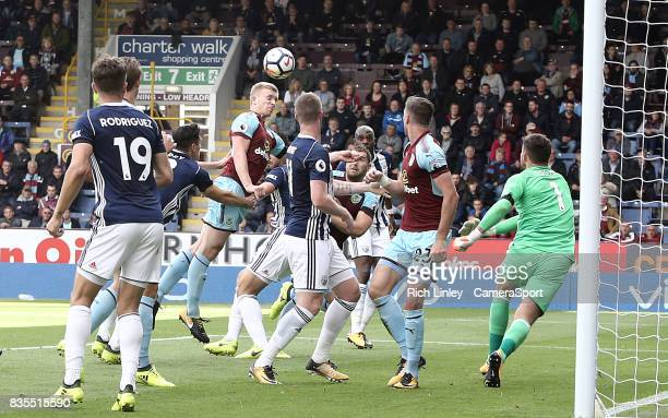 Burnley's Ben Mee fails to guide his headed effort on target late in the first half during the Premier League match between Burnley and West Bromwich...