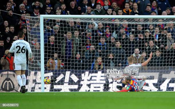 Burnley's Ben Mee goal line clearance from Crystal Palace's James McArthur during the Premier League match between Crystal Palace and Burnley at...