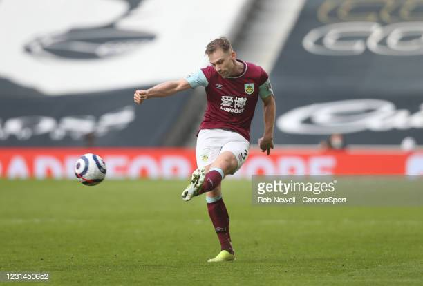 Burnley's Charlie Taylor during the Premier League match between Tottenham Hotspur and Burnley at Tottenham Hotspur Stadium on February 28, 2021 in...