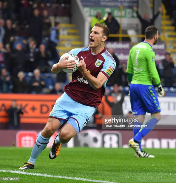 Burnley's Chris Wood celebrates making the score 11 from the penalty spot during the Carabao Cup Third Round match between Burnley and Leeds United...