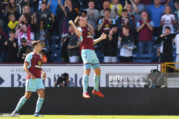 Burnley's Chris Wood celebrates scoring his side's first goal of the game during the Premier League match at Turf Moor Burnley