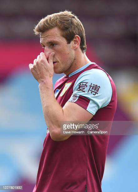 Burnley's Chris Wood during the Premier League match between Burnley FC and Brighton Hove Albion at Turf Moor on July 26 2020 in Burnley United...