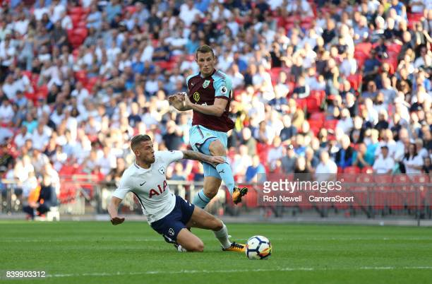 Burnley's Chris Wood scores his side's first goal during the Premier League match between Tottenham Hotspur and Burnley at Wembley Stadium on August...