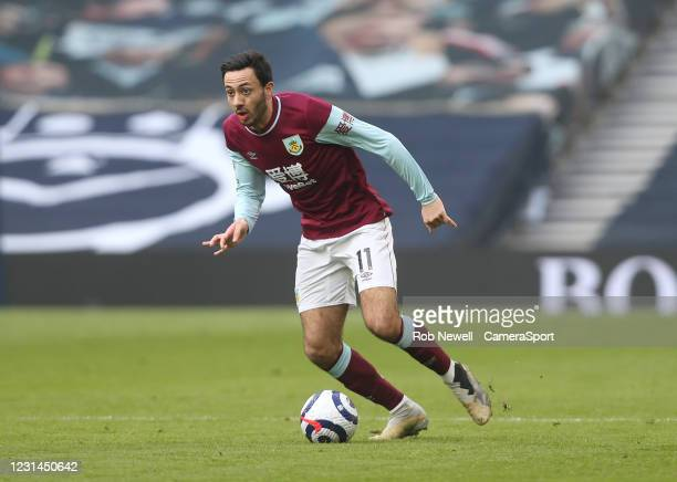 Burnley's Dwight McNeil during the Premier League match between Tottenham Hotspur and Burnley at Tottenham Hotspur Stadium on February 28, 2021 in...