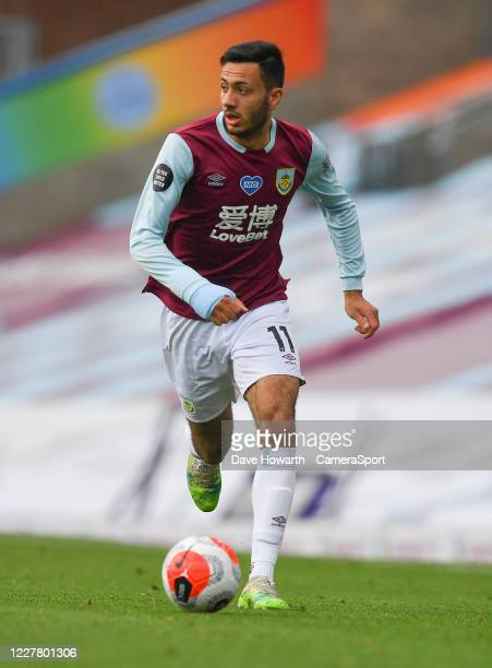 Burnley's Dwight McNeil during the Premier League match between Burnley FC and Brighton Hove Albion at Turf Moor on July 26 2020 in Burnley United...