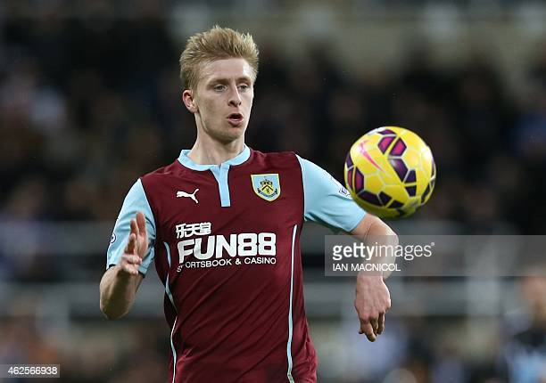 Burnleys English defender Ben Mee controls the ball during the English Premier League football match between Newcastle United and Burnley at St James...