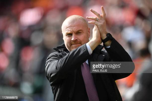 Burnley's English manager Sean Dyche arrives for the English Premier League football match between Liverpool and Burnley at Anfield in Liverpool...