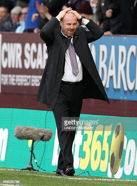 Burnley's English manager Sean Dyche reacts during the English Premier League football match between Burnley and Arsenal at Turf Moor in Burnley,...