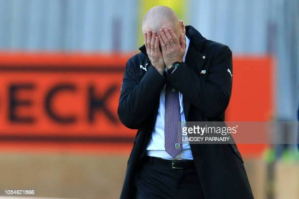 Burnley's English manager Sean Dyche reacts on the touchline during the English Premier League football match between Burnley and Chelsea at Turf...