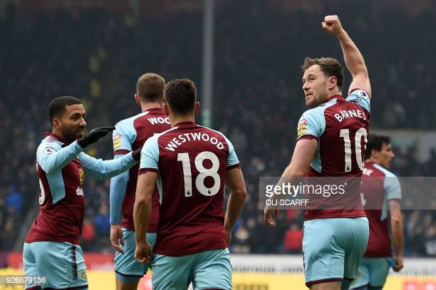 Burnley's English striker Ashley Barnes celebrates after scoring their first goal during the English Premier League football match between Burnley...