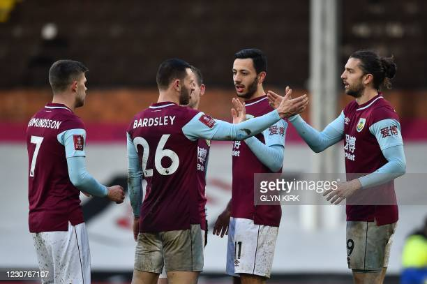 Burnley's English striker Jay Rodriguez celebrates scoring his team's second goal from the penalty spot during the English FA Cup fourth round...