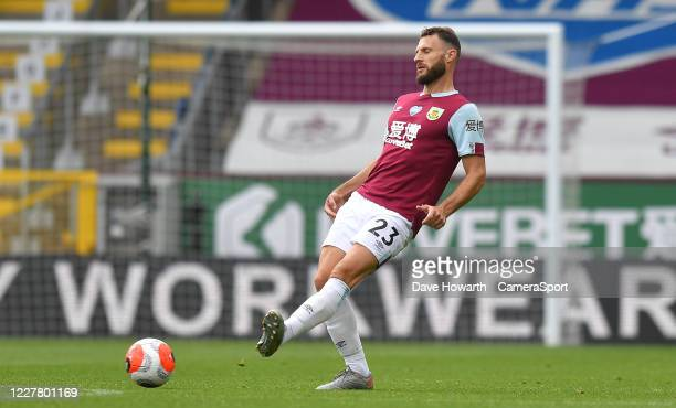 Burnley's Erik Pieters during the Premier League match between Burnley FC and Brighton Hove Albion at Turf Moor on July 26 2020 in Burnley United...