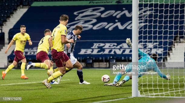 Burnley's goalkeeper Nick Pope saves at close range from West Bromwich Albion's Branislav Ivanovic during the Premier League match between West...