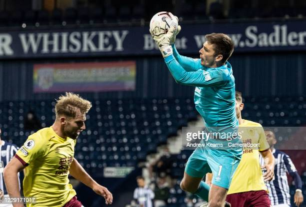 Burnley's goalkeeper Nick Pope saves during the Premier League match between West Bromwich Albion and Burnley at The Hawthorns on October 19 2020 in...