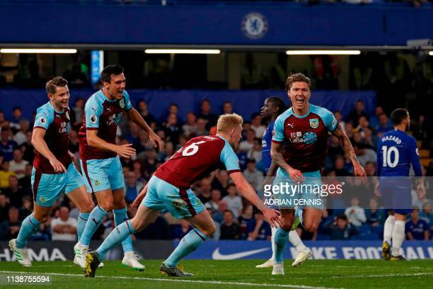 Burnley's Irish midfielder Jeff Hendrick celebrates after scoring the opening goal of the English Premier League football match between Chelsea and...