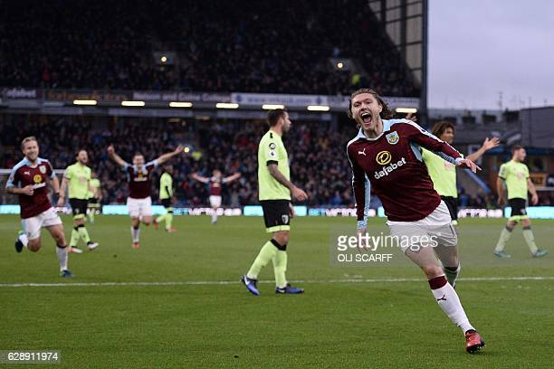 Burnley's Irish midfielder Jeff Hendrick celebrates after scoring the opening goal of the English Premier League football match between Burnley and...