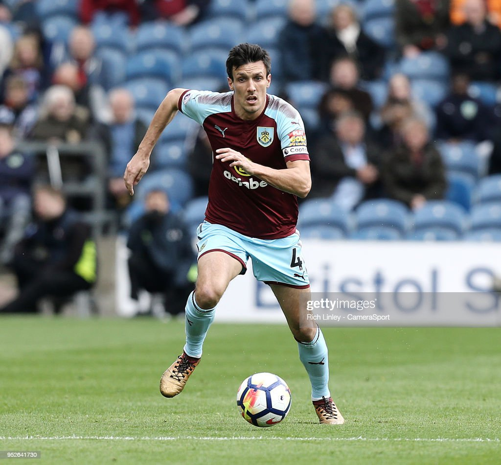 Burnley's Jack Cork during the Premier League match between Burnley and Brighton and Hove Albion at Turf Moor on April 28, 2018 in Burnley, England.