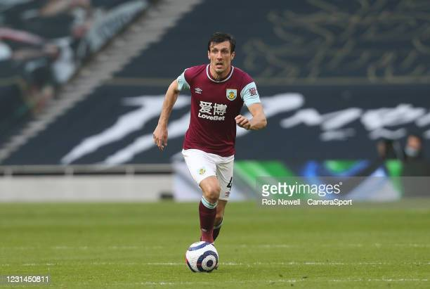 Burnley's Jack Cork during the Premier League match between Tottenham Hotspur and Burnley at Tottenham Hotspur Stadium on February 28, 2021 in...