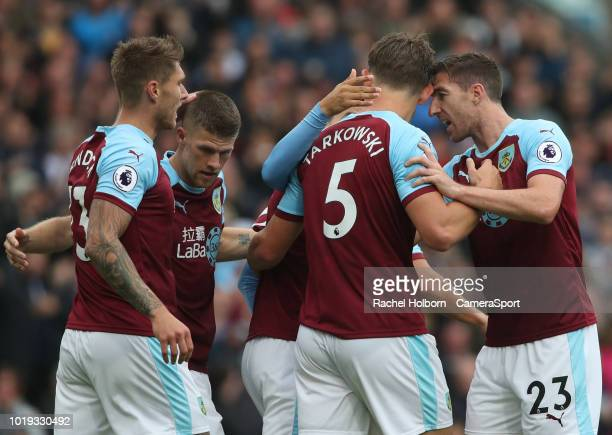 Burnley's James Tarkowski celebrates scoring his side's first goal during the Premier League match between Burnley FC and Watford FC at Turf Moor on...
