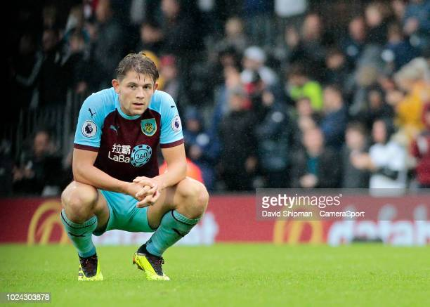Burnley's James Tarkowski shows his dejection at the final whistle during the Premier League match between Fulham FC and Burnley FC at Craven Cottage...