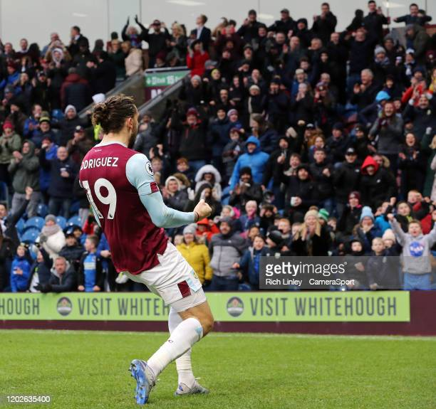 Burnley's Jay Rodriguez celebrates after scoring his side's second goal from the penalty spot after Bournemouth had their equalising goal ruled out...