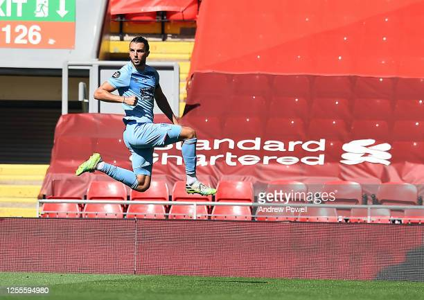 Burnleys Jay Rodriguez Celebrates his goal during the Premier League match between Liverpool FC and Burnley FC at Anfield on July 11, 2020 in...