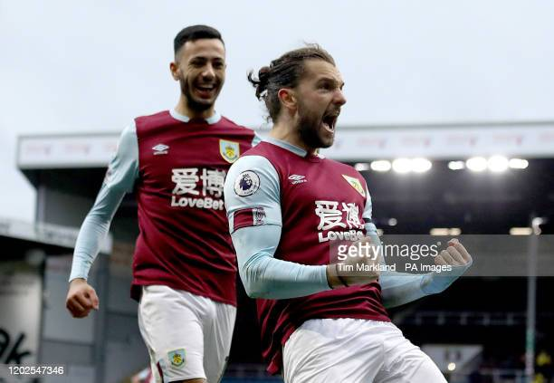 Burnley's Jay Rodriguez celebrates scoring his side's second goal of the game Burnley v AFC Bournemouth - Premier League - Turf Moor .