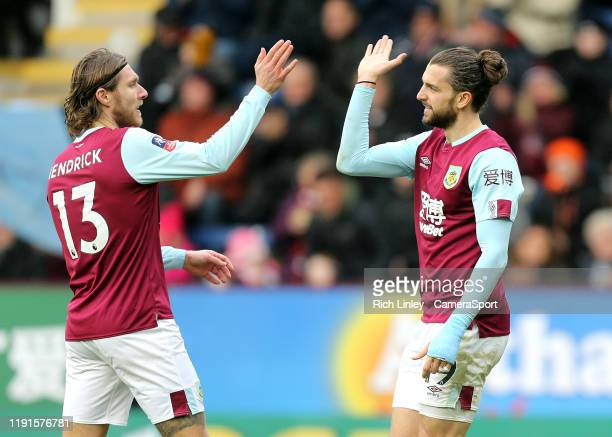 Burnley's Jay Rodriguez celebrates with teammate Jeff Hendrick after scoring his side's fourth goal during the FA Cup Third Round match between...