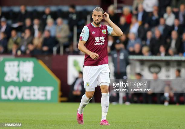 Burnley's Jay Rodriguez during the Premier League match between Burnley FC and Liverpool FC at Turf Moor on August 31 2019 in Burnley United Kingdom