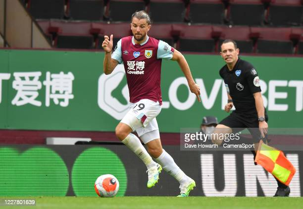 Burnley's Jay Rodriguez during the Premier League match between Burnley FC and Brighton Hove Albion at Turf Moor on July 26 2020 in Burnley United...