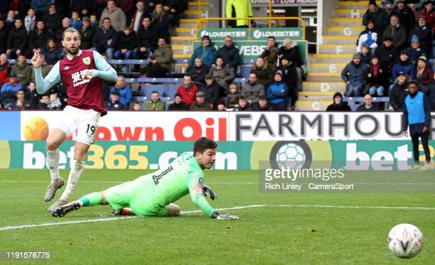 Burnley's Jay Rodriguez scores his side's fourth goal past Peterborough United's Christy Pym during the FA Cup Third Round match between Burnley and...