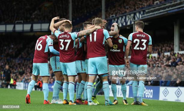 Burnley's Jeff Hendrick celebrates scoring his side's first goal during the Premier League match between Everton and Burnley at Goodison Park on...