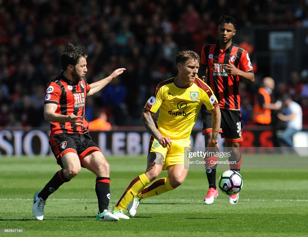 Burnley's Jeff Hendrick in action during the Premier League match between Bournemouth and Burnley at Vitality Stadium on May 13, 2017 in Bournemouth, England.