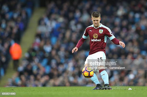 Burnley's Johann Berg Gudmundsson during the Premier League match between Manchester City and Burnley at Etihad Stadium on January 2 2017 in...