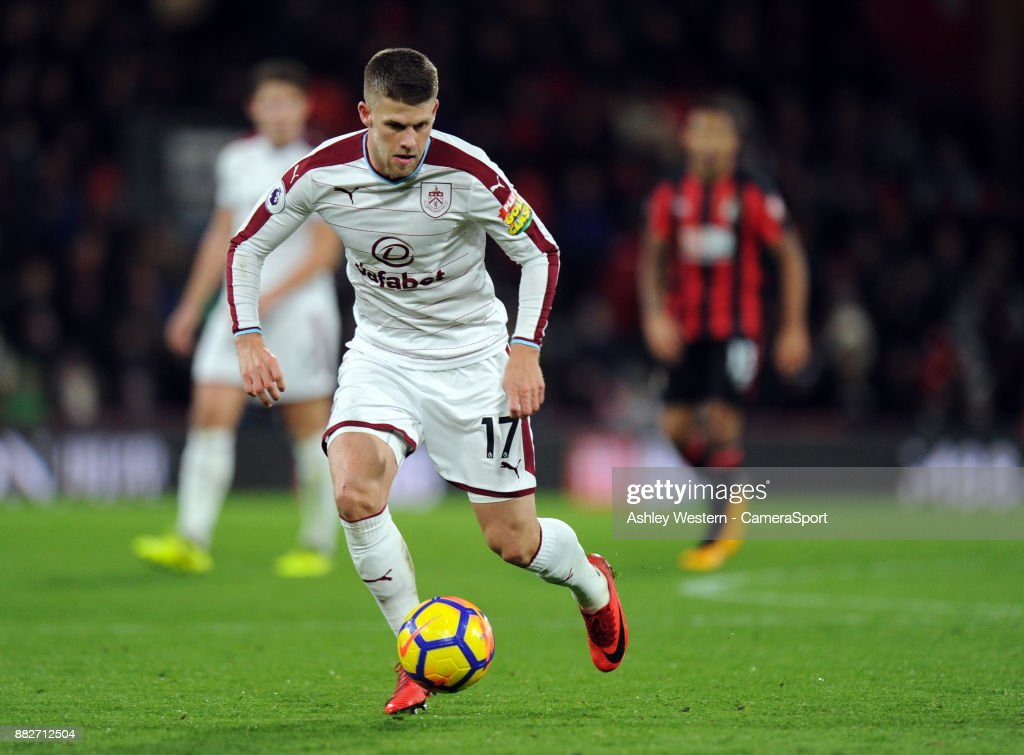 Burnley's Johann Gudmundsson during the Premier League match between AFC Bournemouth and Burnley at Vitality Stadium on November 29, 2017 in Bournemouth, England.