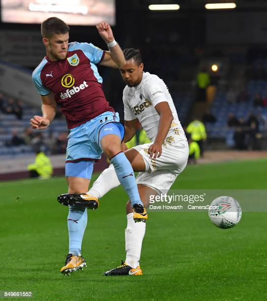 Burnley's Johann Guomundsson is fouled by Leeds United's Cameron BorthwickJackson during the Carabao Cup Third Round match between Burnley and Leeds...