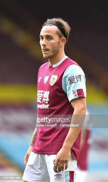 Burnley's Josh Brownhill during the Premier League match between Burnley FC and Brighton Hove Albion at Turf Moor on July 26 2020 in Burnley United...