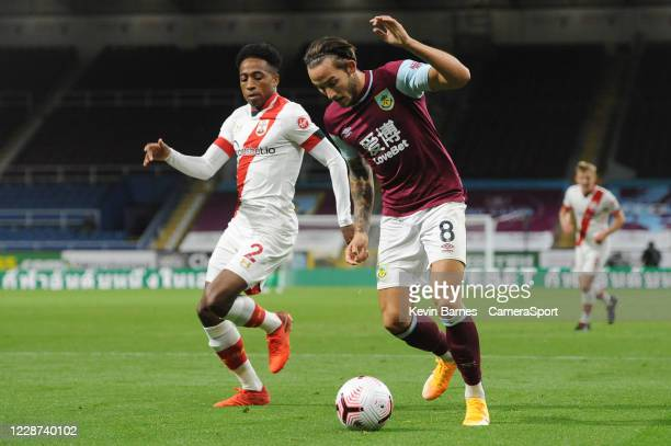 Burnley's Josh Brownhill under pressure from Southampton's Kyle WalkerPeters during the Premier League match between Burnley and Southampton at Turf...