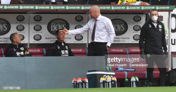 Burnley's Manager Sean Dyche during the Premier League match between Burnley FC and Brighton Hove Albion at Turf Moor on July 26 2020 in Burnley...