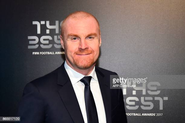Burnley's manager Sean Dyche poses for a photograph as he arrives for The Best FIFA Football Awards ceremony on October 23 2017 in London / AFP PHOTO...