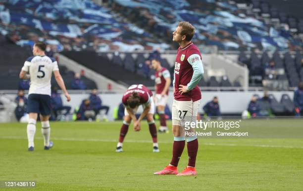 Burnley's Matej Vydra after missing a first half chance during the Premier League match between Tottenham Hotspur and Burnley at Tottenham Hotspur...