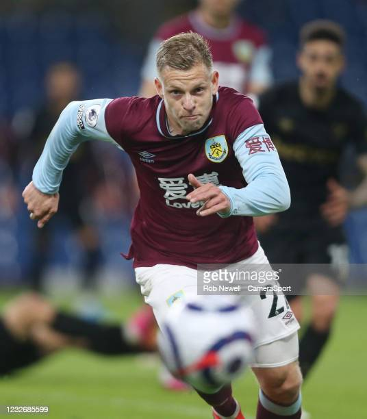 Burnley's Matej Vydra during the Premier League match between Burnley and West Ham United at Turf Moor on May 3, 2021 in Burnley, United Kingdom.