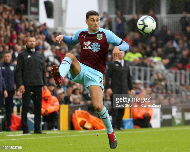 Burnley's Matthew Lowton attempts to control the ball during the Premier League match between Fulham FC and Burnley FC at Craven Cottage on August 26...