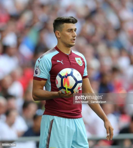 Burnley's Matthew Lowton during the Premier League match between Tottenham Hotspur and Burnley at Wembley Stadium on August 27 2017 in London England