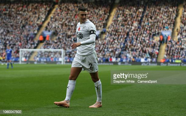 Burnley's Matthew Lowton during the Premier League match between Leicester City and Burnley FC at The King Power Stadium on November 10 2018 in...