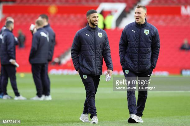 Burnley's Nahki Wells and Fredrik Ulvestad before the Premier League match at Old Trafford Manchester