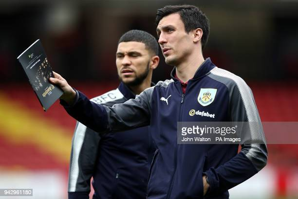 Burnley's Nahki Wells and Jack Cork before the Premier League match at Vicarage Road Watford