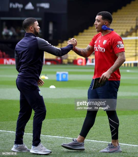 Burnley's Nahki Wells and Watford's Troy Deeney shake hands before the Premier League match at Vicarage Road Watford