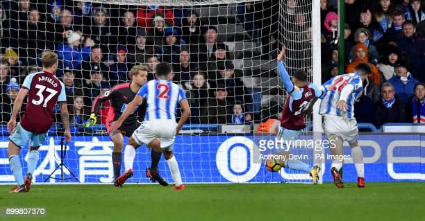 Burnley's Nahki Wells has a shot on goal during the Premier League match at John Smith's Stadium Huddersfield