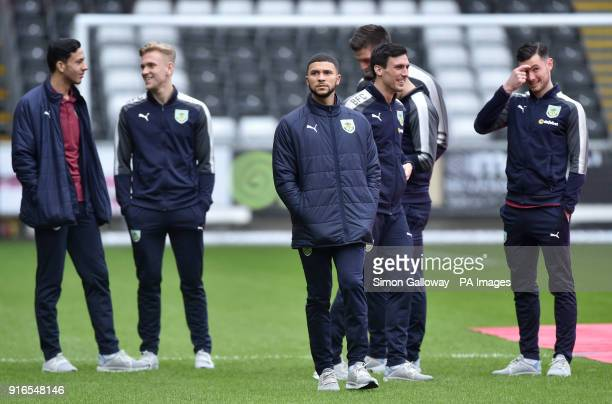 Burnley's Nahki Wells inspects the pitch during the Premier League match at the Liberty Stadium Swansea